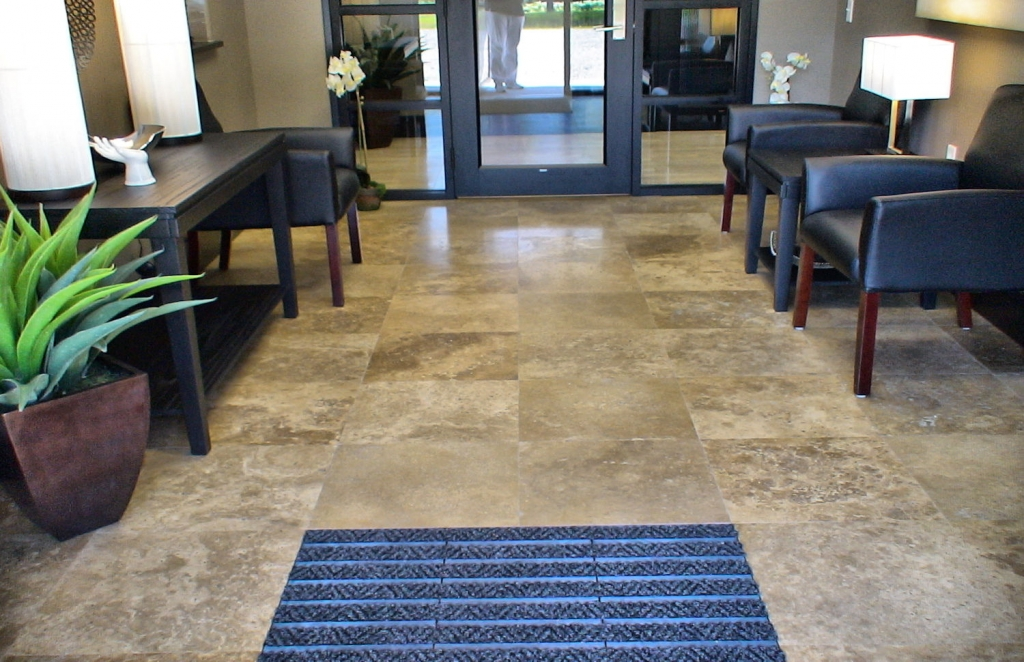Tile flooring is an excellent choice for commercial lobbies.