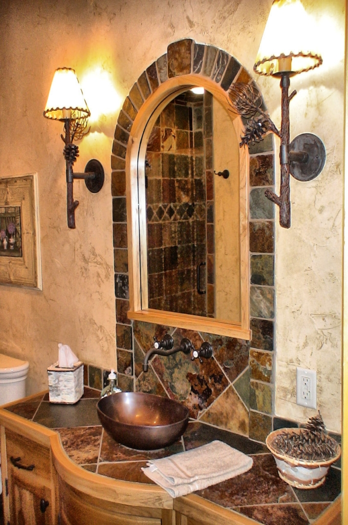 Accent mirrors and focal points with colorful tile surrounds.