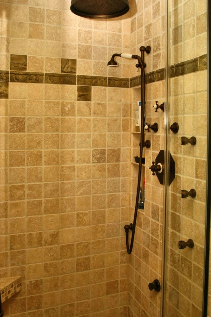 brown bathroom tile shower