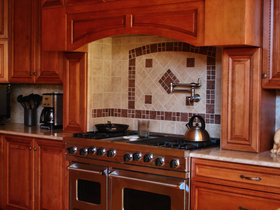 brown tile stove alcove