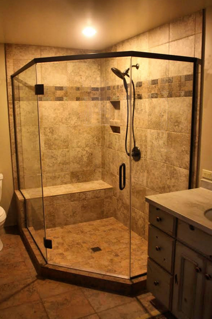 corner tiled shower