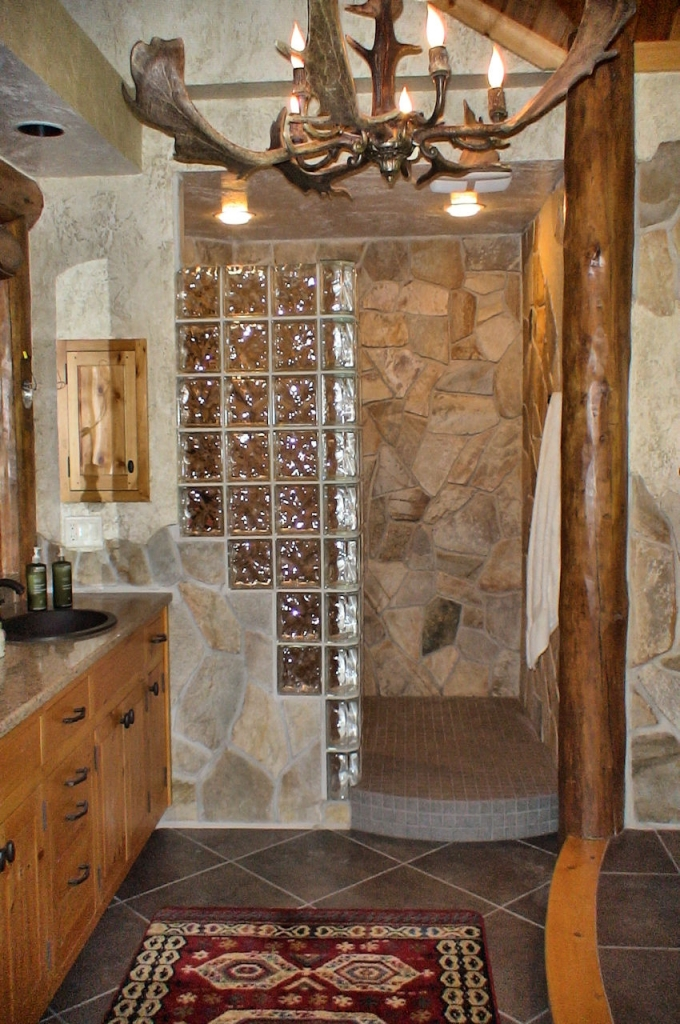 glass block and stone shower