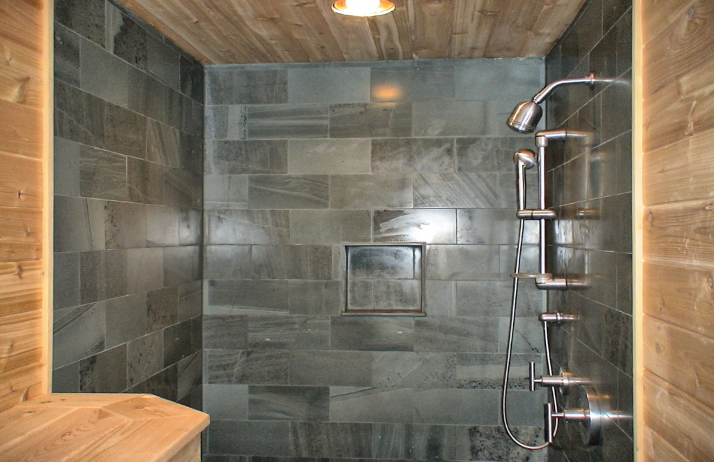grey bathroom tile