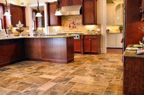 Tile flooring provides slip and water resistance for kitchens.