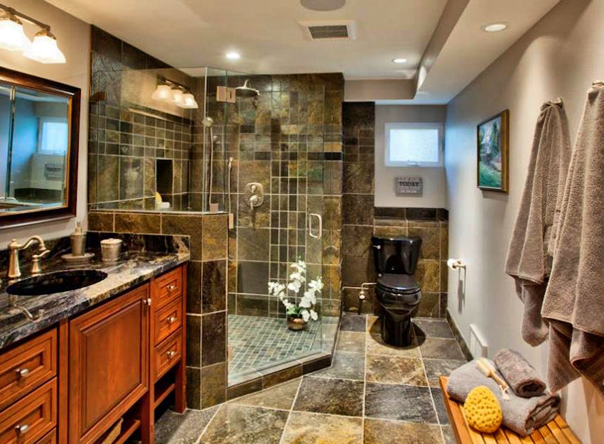 large corner tile shower