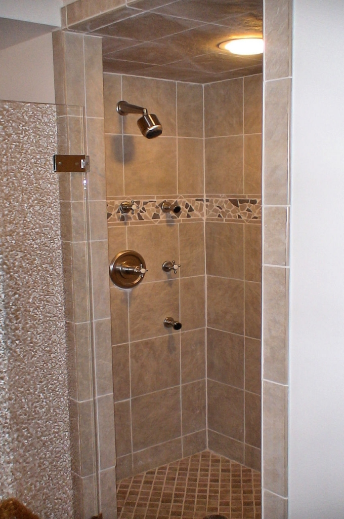 tile shower stall with light