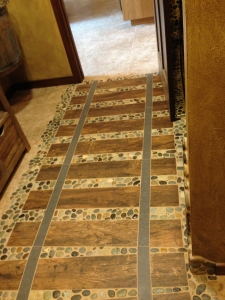 Unique Railroad style tile flooring